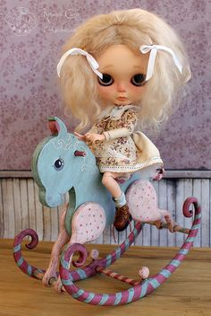 Rocking Horse ~ Cotton Candy blue  pink edition  Available for sale: http://www.cookie-dolls.com/p/purchase.html  Rebeca Cano ~ Cookie dolls www.facebook.com/CookieDolls www.cookie-dolls.com © All rights reserved