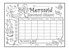 Download and print this special reward chart, which can be personalised and coloured in. It also offers a great way to incentivise and reward your little one, and stickers can be used to make this mermaid reward chart more fun!