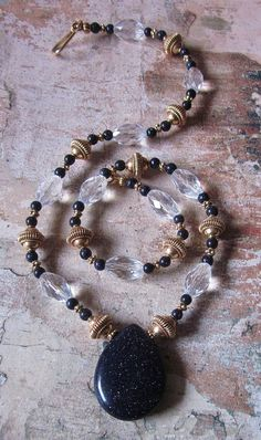 Palace Treasures Blue Goldstone Vermeil Quartz AA Necklace