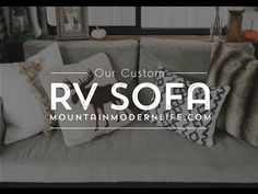Whether you have a RV, tiny house, or tiny nook to fill, you should know that even tiny sofa's can have style and function, like this small DIY sofa! Caravan Makeover, Rv Redo, Travel Trailer Remodel, Futon Frame, Diy Camper, Rv Campers, Diy Rv, Building Furniture, Diy Sofa