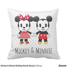 Mickey & Minnie Holding Hands Emoji Throw Pillow