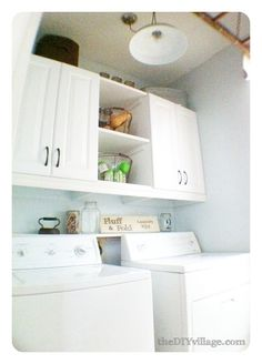 Room Laundry Room Makeover - how to make the most of a small space including a fun twist on a drying rack!Laundry Room Makeover - how to make the most of a small space including a fun twist on a drying rack! Laundry Room Remodel, Laundry Room Cabinets, Laundry Closet, Laundry Room Organization, Diy Cabinets, Laundry Storage, White Cabinets, Stock Cabinets, Espresso Cabinets