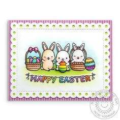 Sunny Studio Stamps: Chubby Bunny Easter Card (using Frilly Frames Polka-Dot dies and Dots & Stripes Pastels Paper) Easter Banner, Easter Card, Sunnies Studios, Chocolate Rabbit, Easter Peeps, Happy Easter, Pastel Paper, Studio Cards, Copics