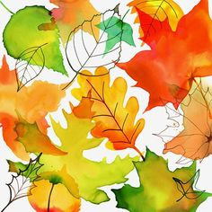 autumn leaves; watercolor by Margaret Berg