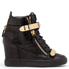 6960310233f510 These high top wedge sneakers in black crocodile embossed calf leather lead  the pack in the style stakes. Crafted from soft leather with gold zips and  ...