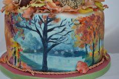 Hand painted Autumnal cake - by welshcottagecupcakes @ CakesDecor.com - cake decorating website