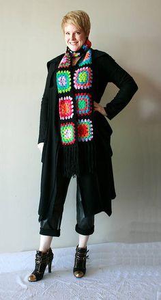 Gorgeous granny square scarf