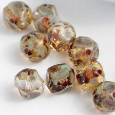 Lotto 20 9 millimetri di perle di cristallo Picasso vetro sfaccettato taglio…