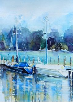 Sailing Boats Original Watercolor Painting by AnikoArt on Etsy, $105.00