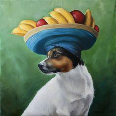 Chiquita Jack Russell Banana Hat Fruit Tropical by hartart13, $1200.00