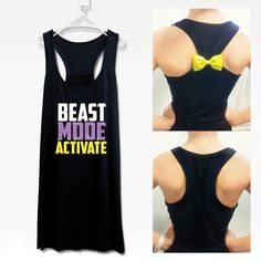 Beast mode activate fitness workout tank top with  detachable bow-102
