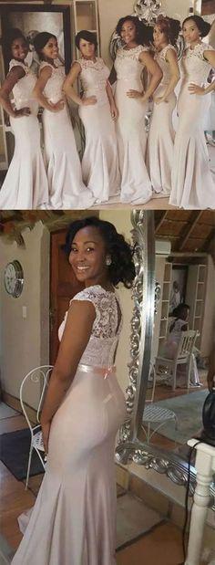 2017 Cheap Sexy Lace Floor Length Bridesmaid Dresses Black Girls Satin Mermaid Sash Wedding Party Formal Prom Evening Dresses