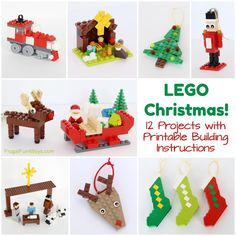 Christmas Projects to Build with LEGO® Bricks - Printable Building Guide - Frugal Fun For Boys and Girls - Lego Ideen Lego Activities, Christmas Activities, Christmas Crafts For Kids, Christmas Projects, Holiday Crafts, Holiday Fun, Christmas Ideas, Lego Christmas Ornaments, Noel Christmas