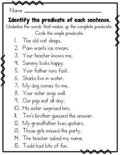 Subject Predicate Grade - My best education list Subject And Predicate Worksheets, Subject And Verb, English Grammar Worksheets, 2nd Grade Worksheets, Tenses Grammar, Printable Worksheets, Third Grade Writing, 2nd Grade Reading, English Grammar