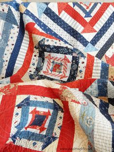 Nested Churn Dash with Minick & Simpson fabrics pieced by Sherri McConnell of A Quilting Life Red And White Quilts, Blue Quilts, Scrappy Quilts, Small Quilts, Churn Dash Quilt, Patriotic Quilts, Patriotic Crafts, Patriotic Party, July Crafts