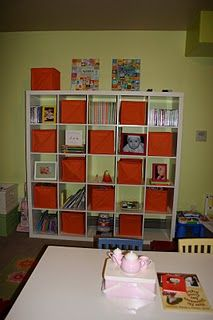 Homeschool storage. Put all bins in the bottom 5 squares for toy storage, use middle shelves for books/art supplies, use top shelves for teacher supplies and cute knick knacks.