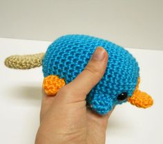 Perry the Platypus - Made to Order - Crocheted Fan Plushie. $40.00, via Etsy.