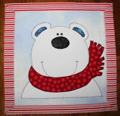 Polar bear - - Applique quilted wall hanging