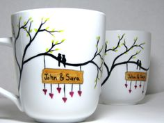 Painted Mugs- Birds Surrounded by Love, Personalized, Set of 2 hand painted personalized mug. Sharpie Projects, Sharpie Crafts, Sharpie Art, Sharpies, Hand Painted Mugs, Painted Plates, Painted Birds, Pottery Painting, Ceramic Painting