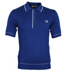 Fred Perry Royal Blue Ribbed Slim Fit Knitted Cotton Polo Shirt