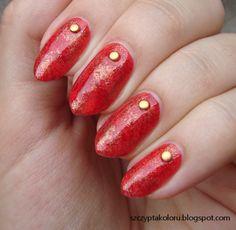 Czerwono-złoty marmurek #rednails #marblenails #nails #nailart