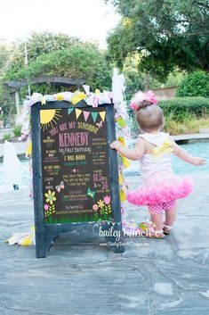 You are my Sunshine Birthday Chalkboard, - Bailey Bunch Designs First Birthday Posters, 1st Birthday Girls, First Birthday Parties, Birthday Ideas, Milestone Birthdays, First Birthdays, Sunshine Birthday Parties, Picnic Birthday, First Birthday Decorations