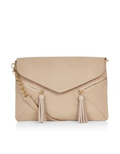 Double Tassel Zip Envelope Across Body Bag   Pink   Accessorize