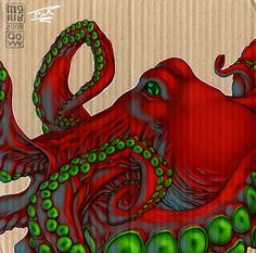 A drawing of an Octopus on cardboard which I coloured over to make a sweet texture. Lines: Monk Colours: Thomas Newbury Octopus Painting, Octopus Art, Fish Art, Octopus Tentacles, Red Octopus, Le Kraken, Motif Art Deco, Sea Monsters, Tattoo
