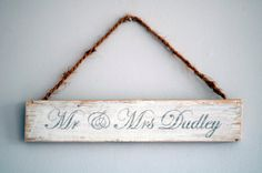 Personalised Custom 'Mr & Mrs' Wooden Wedding by TheLittleCShed Wooden Wedding Signs, Wedding Signage, Wooden Signs, Engagement Presents, Pallet Ideas, Mr Mrs, Wall Signs, Wood Pallets, Wedding Gifts