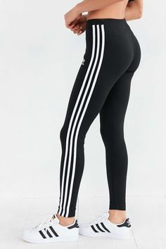 Adidas Women Shoes - adidas Originals 3 Stripes Legging - Urban Outfitters - We reveal the news in sneakers for spring summer 2017 Striped Leggings, Leggings Are Not Pants, Printed Leggings, Women's Leggings, Leggings Store, Stripe Pants, Cheap Leggings, Black Leggings, Leggings Fashion