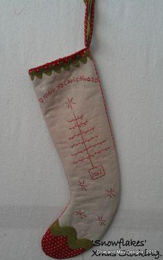 Snowflakes Xmas Stocking.  Pattern $15.95