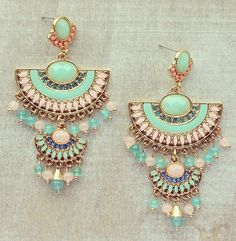 Pree Brulee - Peruvian Princess Earrings from Pree Brulee. Saved to Jewelry - Let's Sparkle! Indian Accessories, Bohemian Accessories, Jewelry Accessories, Fashion Accessories, Jewelry Design, India Jewelry, Ethnic Jewelry, Fancy Jewellery, Fashion Earrings