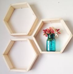 This listing is for a set of THREE hexagon shelves.  ▷M e a s u r e m e n t s: 16 wide x 4 deep x 14 tall Smooth back no wall fasteners.  ▷F i n i s h O p t i o n s: The shelves are offered in 3 different finished options to better suit your needs as well as budget  OPTION ONE: SANDED & SEALED with this option the shelves are fully finished and ready to be hung on the wall! :)  OPTION TWO: SANDED & UNSEALED with this option the shelves are sanded but NOT sealed. This means that you ca...