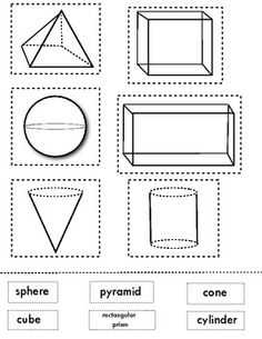 Matching 3D shapes.  This is a great sheet for end of the unit review.  Can be used for homework or math journal.