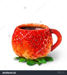 Cup from a strawberry with hot tea. healthy food