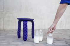 a milking stool made out of milk-protein plastic
