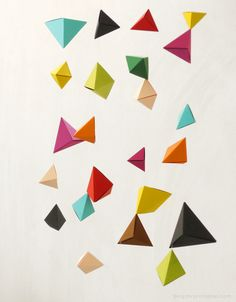 DIY origami garland tutorial - triangular bipyrimids and what to do with them once you've made them! @Rebekah Herbst should do this for Daryl's b-day...