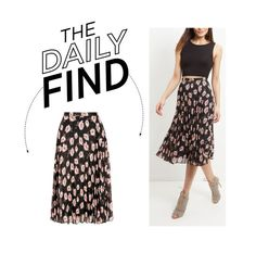 """""""The Daily Find: New Look Pleated Midi Skirt"""" by polyvore-editorial ❤ liked on Polyvore featuring women's clothing, women, female, woman, misses, juniors and DailyFind"""