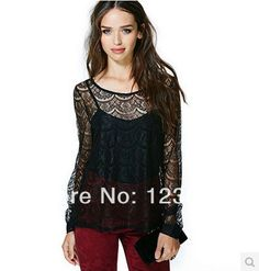 Free Shipping Women Sexy Black T Shirt Twinset Lace Designed Fashion Loose Front Short Back Longer Wave Pattern Long Sleeve D140 $16.10