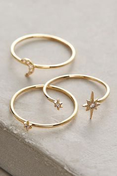 Anthropologie - Damenbekleidung, Accessoires & Home - Anthropologie Celestial S. - Anthropologie – Damenbekleidung, Accessoires & Home – Anthropologie Celestial Stacking Rings / - Dainty Gold Jewelry, Cute Jewelry, Jewelry Rings, Jewelry Accessories, Fashion Accessories, Women Jewelry, Fashion Jewelry, Bohemian Accessories, Cheap Jewelry