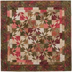 Love the colors...and I've always wanted to make a quilt using the Hunters Star block .  Aren't the batiks beautiful!