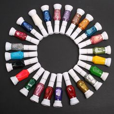 24 Colors Nail Art 2 Way Brush Pen Varnish Polish