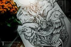 «Odin» север, викинги, волк, ворон, руны, эскиз, тату, рисунок