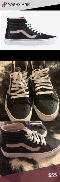 a1cee3844f Black leather high tops Black leather high tops with light pink details.  Pink lining in
