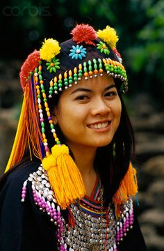Thailand | Hmong Woman Wearing Headdress. Chiang Mai | © Dallas and John Heaton/Corbis