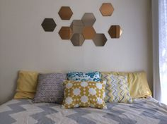 Hexagon mirrors set of 3 by MyLittleMirrors on Etsy