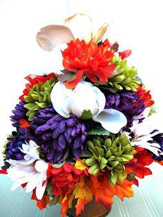 Fall table arrangement Thanksgiving centerpiece Silk floral