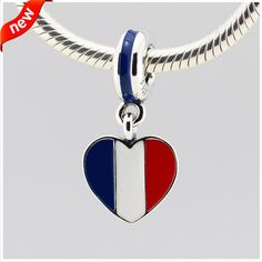 Fits Pandora Jewelry Bracelets 925 Sterling Silver Beads France Heart Flag Dangle With Blue White and Red Enamel DIY Pandulaso