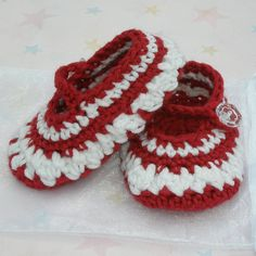 Baby girl crocheted shoes mary janes ruby red and by shezware, $10.00