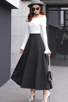 long winter flare skirt Stylish Formal Skirts for Women To Wear To Office for teens Modest Fashion, Fashion Dresses, Stylish Dresses, Long Skirt Outfits, Flare Skirt Outfit, Winter Skirt Outfit, Long Skirts For Women, A Line Skirts, Fashion Models